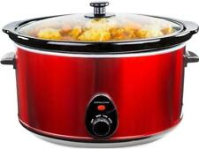 Andrew James Slow Cooker 8L Red Electric Large Removable Ceramic Inner Pot