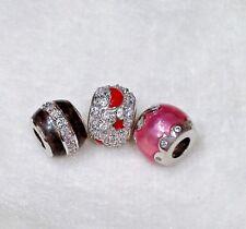 SET:  3 Abalorios / charms / beads (sterling, cz, enamel)  for european bracelet
