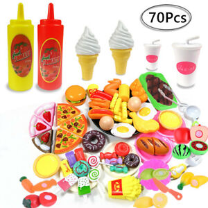 70pcs Kids Toy Pretend Role Play Kitchen Pizza Food Cutting Sets Children Gift