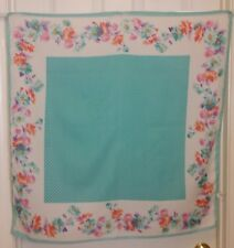 "TERRIART Turquoise, White Stripes with Flowers Border 30"" Sq Scarf-Vintage"