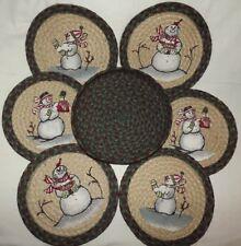 """Trivets in a Basket Braided Jute 10"""" x 10""""  """"Snowman"""" 3 Styles Green Wine C- 508"""