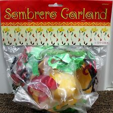 12' FIESTA GARLAND 3-D Sombrero Peppers Mexican Party Cinco de Mayo Banner NEW