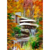 "ACEO Card Signed Print (2.5"" x 3.5"") Art of Frank Lloyd Wright's Fallingwater"