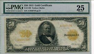 1913 $50 Large Size FR#1199 Teehee/Burke PMG VF25 ****GOLD CERTIFICATE