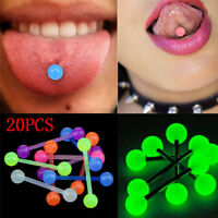 20PCS/Set Luminous Ball Flexible Barbell Stud Tongue Ring Bars Body Piercing PV