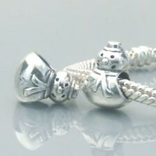 Snowman Charm Bead 925 Sterling Silver