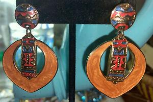 Vintage Berebi Egyptian Design  Drop Dangle Pierced earrings Signed