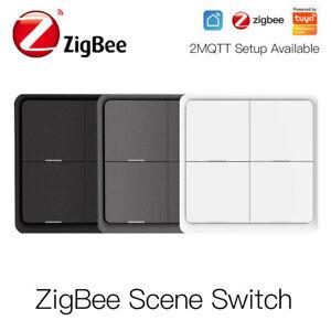 4 Gang ZigBee Wireless 12 Scene Switch Push Button Controller Tuya App Control