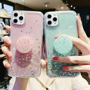 Bling Glitter Soft Case for iPhone 11 Pro 11 X With Stand Holder Socket Relief
