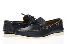 QUODDY Mens 'Leffot' Navy Leather Slip On Moccasins Sz 8