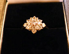 9ct Gold Diamonique Cluster Ring  Size N