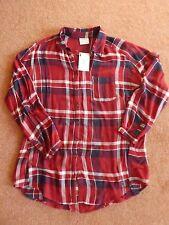Vero Moda soft red & blue check long sleeve shirt - L