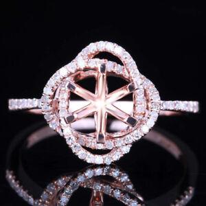 6mm Round Solid 10k Rose Gold Engagement Wedding Diamond Semi Mount Ring Setting
