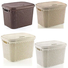 LARGE 30 LITRE PLASTIC STORAGE RATTAN BOX WITH LID - BASKET - CONTAINER - NEW!