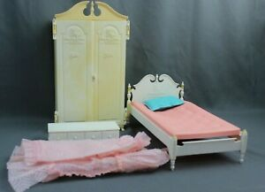 Vintage 1960s Barbie Suzy Susy Goose Pink & White Bed, Wardrobe Closet, Trunk