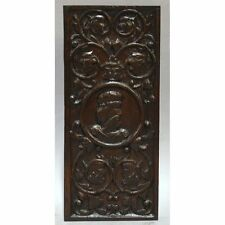 ANTIQUE 17TH C CARVED OAK DECORATIVE CENTRAL FIGURE & GREEN MAN PANEL