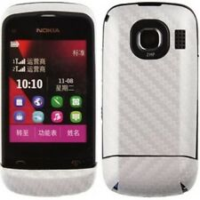 Skinomi Carbon Fiber Silver Skin Cover+Clear Screen Protector for Nokia C2-03