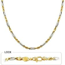 """3.40mm 18"""" 21.00gm 14k Solid Two Tone Gold Men's Figarope Milano Polished Chain"""
