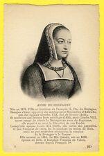 cpa FRANCE Gravure Etching PORTRAIT de la REINE Anne de BRETAGNE Royalty