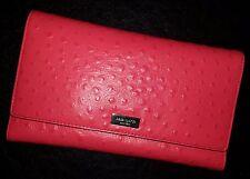 KATE SPADE Clutch Wallet Riverside Street OSTRICH Leather PHOENIX HOT ROSE!  NWT