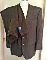 Oscar De La Renta Mens Brown Houndstooth Wool Suit Size 44r Brown Slacks 36x28