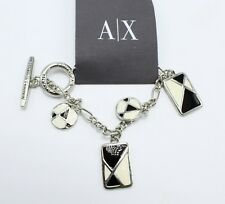 New A/X Silver Tone  Black & White Bracelet by Armani Exchange nwt #H5BR109