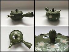 Japanese Pottery Tea Pot Kettle Kyusu Vintage Tokoname Ware Flower Green R1379