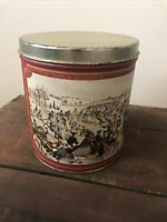 """Vintage 6"""" Metal Tin Container with Colonial Days art picture"""