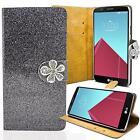 Glitzer Handy Tasche für LG Schutz Hülle Strass Cover Etui Wallet Flip Cover Bag