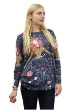 Purplish SPACE GIRL Oversized Pullover Sterne Kosmos S/M/L 36 38 40