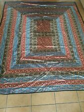 Vintage Quilt Handmade Silk Quilted Flower Applique Quilt/Throw - sz  7ft x 9ft