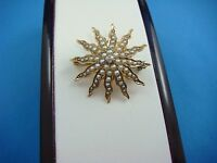 14K YELLOW GOLD ANTIQUE STAR BROOCH WITH SEED PEARLS AND OLD MINE DIAMOND