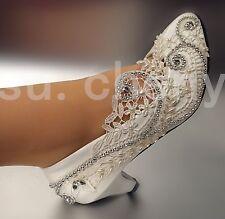 su.cheny Lace white light ivory rhinestone heels pump Wedding Bridal shoes 5-12