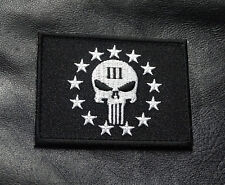 THREE 3% PERCENTER PUNISHER 2ND AMENDMENT NRA HOOK FASTENER MORALE PATCH(MTT1)