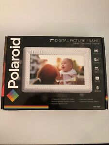 "Polaroid 7"" Digital Photo Frame With Decorative Textured Silver Metal Frame"
