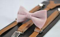 Boy Kids Blush Dusty Pink Velvet Bow tie + Tan Brown Faux leather Suspenders
