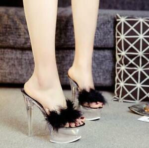 Ladies Faux Fur Platform Shoes Slippers Transparent Stilettos High Heel Sandals