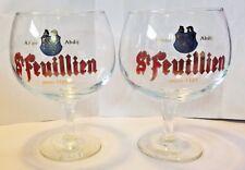 St. Feuillien Abbaye Abdij Belgium Anno 1125 Chalice Beer Glass Set of 2