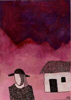 21050209 e9Art ACEO Folk Rural Outsider Art Painting Surrealism Landscape OOAK