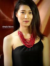 Collier Femme Rouge Multirang Original Style Moderne Soirée Mariage Joli SD 5
