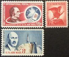 Three 1963 airmail singles, Scott #C66-C67 & C69, MNH/MLH, VF