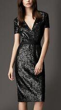 SZ 12US,14UK BURBERRY LONDON BLACK SEQUIN CROSSOVER DRESS NWT $1295