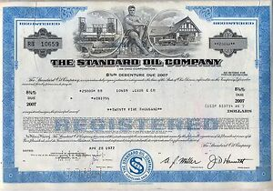The Standard Oil Company Bond Stock Certificate Gas Refining