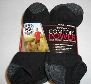 Short No Show Black BURLINGTON Comfort Men Athletic Socks 10-pk Thick 69% Cotton