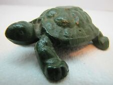 Vintage Cast Iron Turtle Paperweight green paint detailed shell