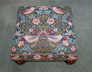 Tapestry Footstool in William Morris Strawberry Thief Blue - Made in England