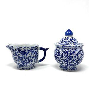 SILVESTRI Porcelain Sugar & Creamer Set Floral Blue White EUC