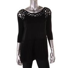 NWT Catherine Malandrino Black Crochet Knit Top M - L $350