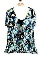 Style&Co Women's Top 3X Plus Size Short Sleeve Beaded Abstract Shirt (M)