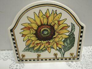 Santa Barbara Ceramic Design Sunflower Floral Ceramic Key Holder 4 Pegs EUC
